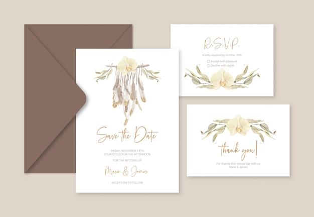 Cartes de modèle de mariage boho avec des feuilles de macramé et d'eucalyptus en plumes