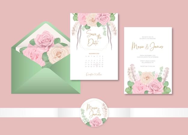 Cartes de modèle de mariage boho avec des fleurs