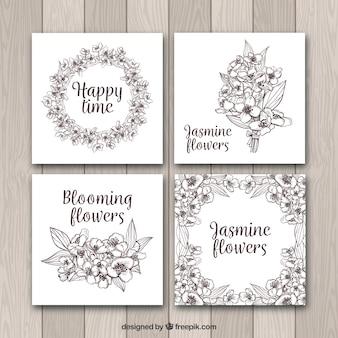 Cartes modernes de jasmin avec un style incomplet