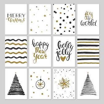 Cartes de noël noir et or étiquettes-cadeaux vectorielles, étiquettes et cartes pour noël