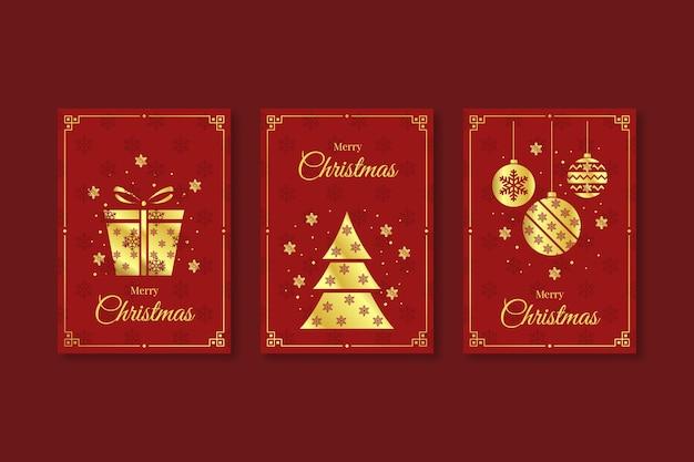 Cartes de noël rouges et dorées