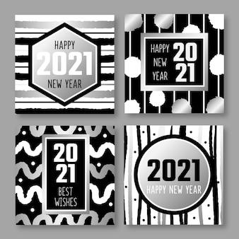 Cartes de nouvel an 2021 en argent
