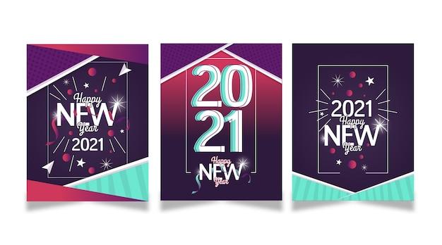 Cartes de nouvel an 2021 au design plat