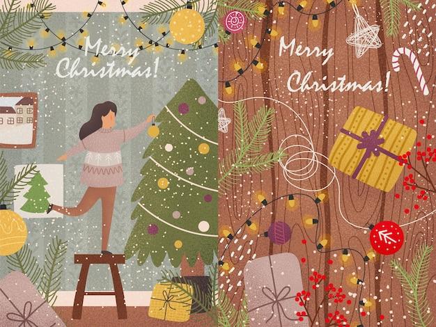 Cartes de nouvel an aux couleurs vives