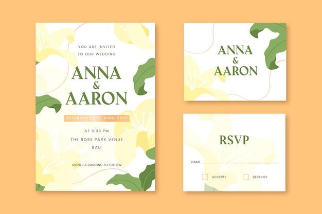 Cartes de papeterie de mariage avec des fleurs jaunes