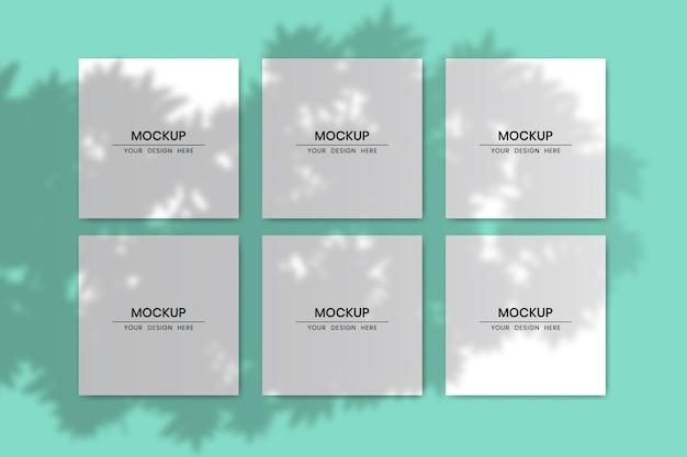 Cartes en papier carrées vierges avec effet de superposition d'ombres