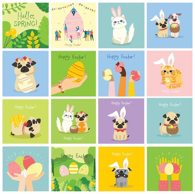 Cartes de pâques de vecteur avec des animaux tenant les oeufs et texte dessiné à la main - joyeuses pâques dans le style plat