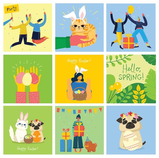 Cartes de pâques vectorielles avec des animaux tenant les oeufs et le texte dessiné à la main