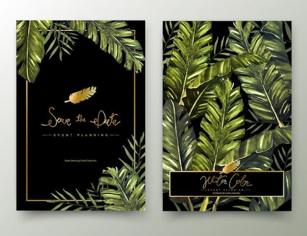 Cartes De Peinture à L'aquarelle Tropicale. Vecteur Premium