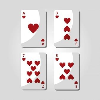 Cartes de poker coeurs jouant divertissement