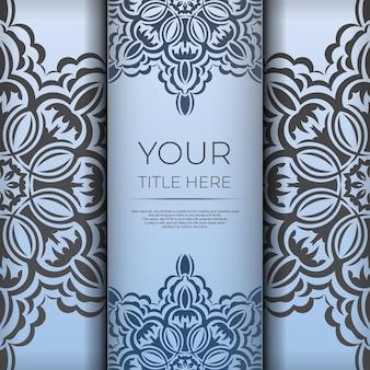 Cartes postales carrées bleues avec de luxueux motifs noirs. conception de carte d'invitation avec ornement vintage.