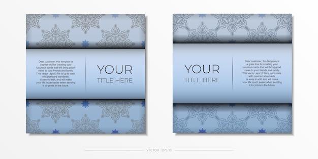 Cartes postales carrées bleues avec de luxueux ornements noirs. conception de vecteur de carte d'invitation avec des motifs vintage.