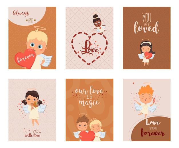 Cartes postales décorées de citations manuscrites de personnages de dessins animés d'anges de cupidon et de petits coeurs