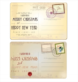 Cartes postales de noël et timbres