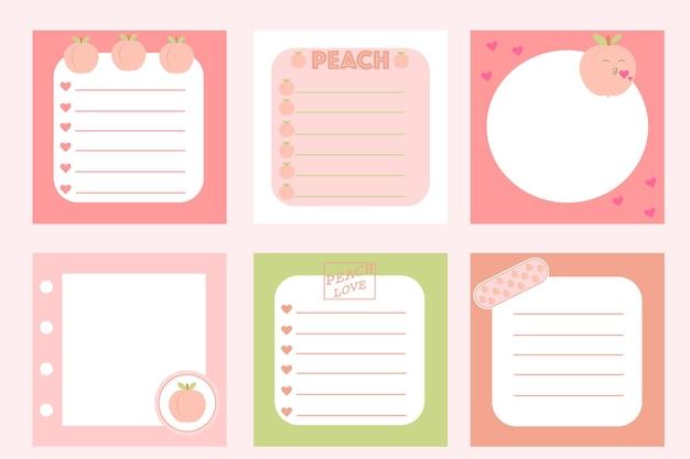 Cartes postales pour notes avec pêches roses autocollants pour enregistrements graphiques vectoriels