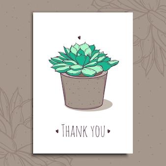 Cartes postales romantiques mignonnes prêtes à l'emploi avec succulentes en pot.