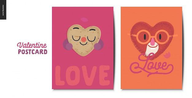 Cartes postales saint valentin avec caractère coeur
