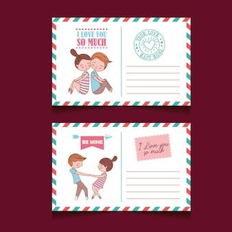 Cartes postales saint valentin sertie de joli couple amoureux et caoutchoucs.