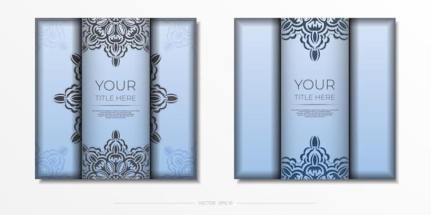 Cartes postales vectorielles carrées bleues avec des motifs noirs luxueux. conception de carte d'invitation avec ornement vintage.