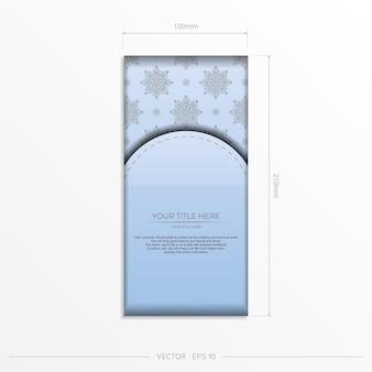 Cartes postales vectorielles rectangulaires en bleu clair avec de luxueux motifs noirs. conception de carte d'invitation avec ornement vintage.