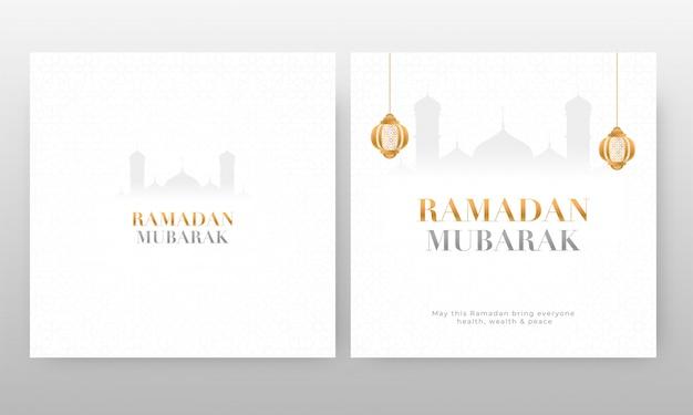 Cartes ramadan mubarak avec lanternes suspendues et silhouette de la mosquée sur fond blanc.