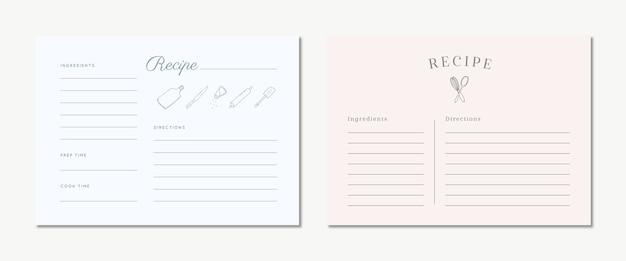 Cartes de recettes mignonnes avec dessinés à la main