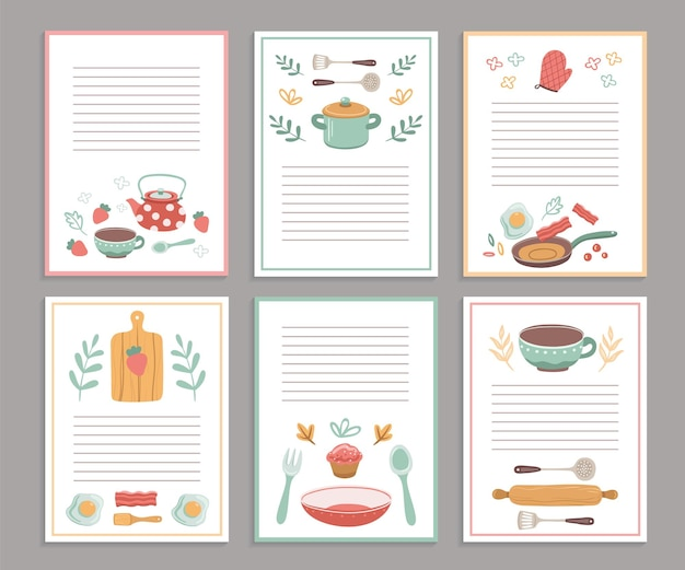 Cartes de recettes. pages vierges de livre culinaire. autocollants de livre de cuisine, joli menu d'accueil