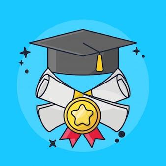 Cartes de remise des diplômes et de rapport avec illustration de chapeau