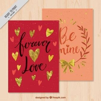 Cartes rétro avec des messages d'amour