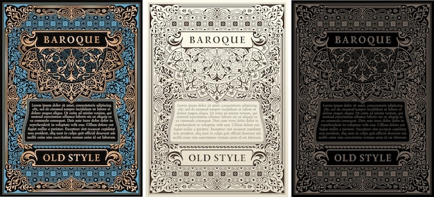 Cartes rétro vintage et cadres calligraphiques