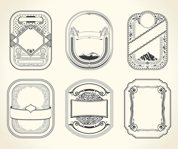 Cartes rétro vintage et cadres design