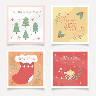 Cartes de réveillon de noël et du nouvel an