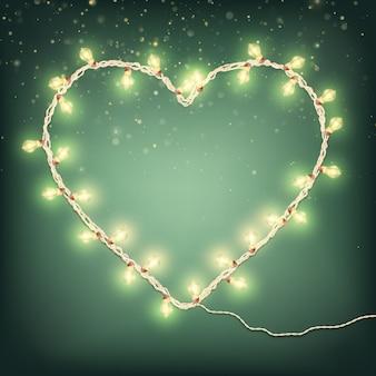 Cartes de saint valentin heureux avec la lumière de la guirlande.
