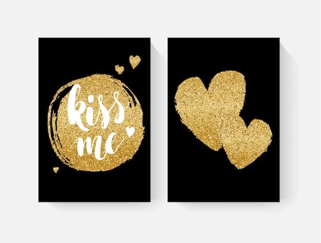 Cartes de saint valentin avec lettring à la main et détails de paillettes d'or