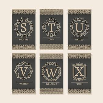 Cartes serties de lettres monogrammes cartes sx