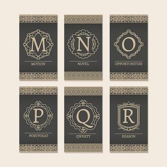 Cartes serties de monogrammes mr