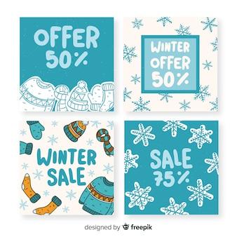 Cartes de soldes d'hiver