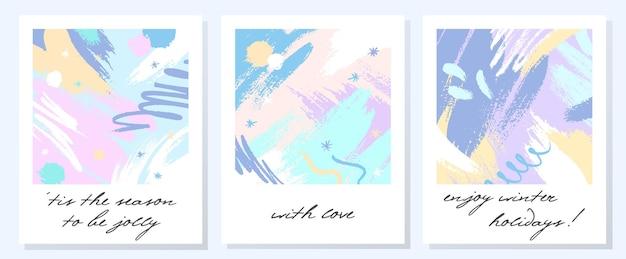 Cartes de vacances artistiques uniques avec des formes et des textures dessinées à la main dans des couleurs pastel douces. conception de salutations à la mode parfaite pour les impressions, les dépliants, les bannières, les invitations, les couvertures et plus encore. collages vectoriels modernes.