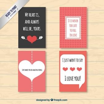Cartes de valentine belles et agréable pack