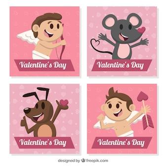 Les cartes de valentine fantastique jour avec des personnages mignons