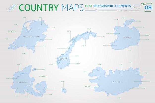 Cartes vectorielles de norvège, islande, irlande, pays-bas et danemark