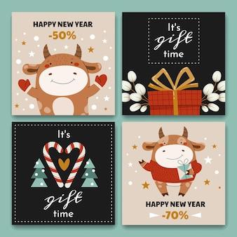 Cartes de vente carrées de dessin animé. un taureau mignon agitant ses mains et donnant des cadeaux.