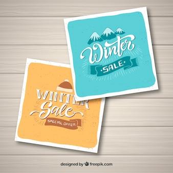 Cartes de vente d'hiver dessinées à la main