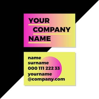 Cartes de visite au néon dégradé avec logo d'entreprise