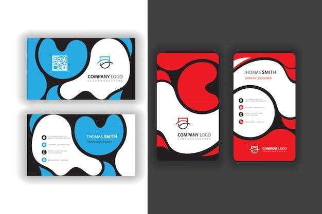 Cartes de visite bleues et rouges
