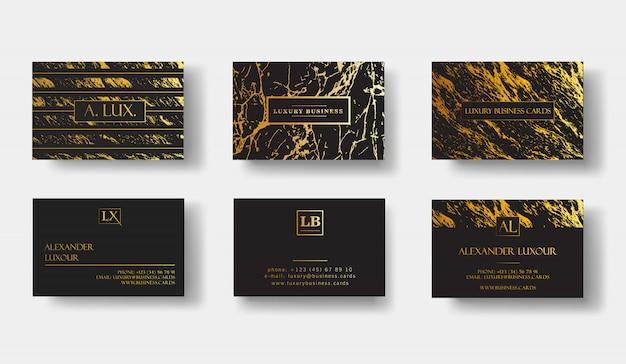 Cartes de visite élégantes de luxe noir avec texture marbre