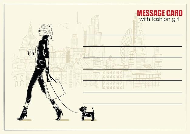 Cartes de visite avec femme fashion. illustration de mode