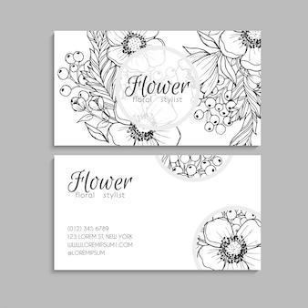 Cartes de visite fleur blanc et noir