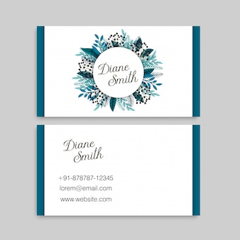 Cartes de visite de fleur bleue