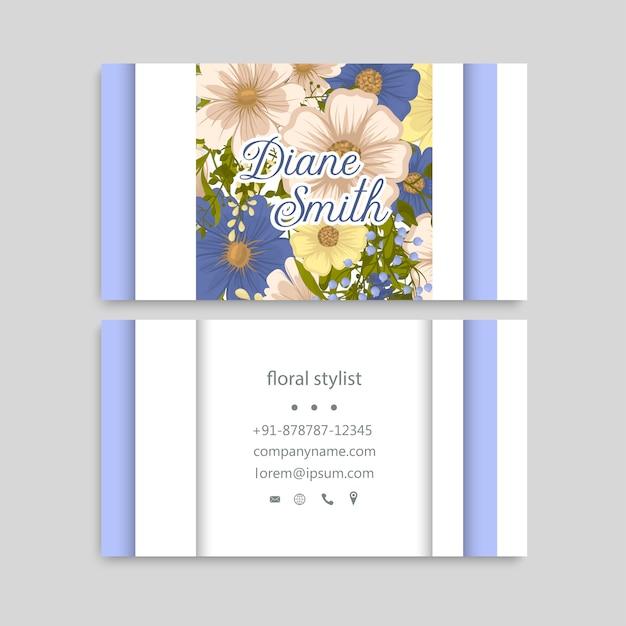 Cartes de visite fleur fleurs bleues